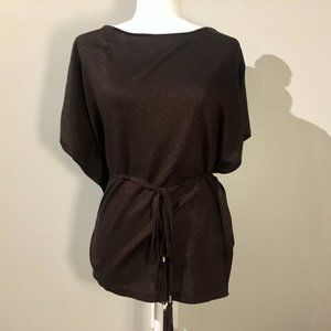 WHBM Brown Glittery Poncho Sweater & Tie Belt XS